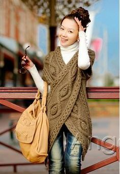 """Pinner said:"""" lovely handmade crochet wrap. couldn't find the pattern but this could be modified and knitted to create something equally gorgeous."""" Is this really crochet? Crochet Scarves, Crochet Shawl, Crochet Clothes, Knit Crochet, Easy Crochet, Crochet Hooks, Crochet Pattern, Diy Vetement, Shawls And Wraps"""