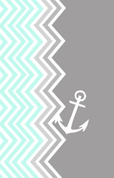 'Nautical Chevron ' Photographic Print by sunkisseddesign Anchor Wallpaper, Nautical Wallpaper, Cute Wallpaper Backgrounds, Pretty Wallpapers, Cool Wallpaper, Iphone Wallpaper, Chevron Phone Wallpapers, Phone Backgrounds, Desktop Wallpapers