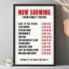 Create your very own film listings board with this stylish cinema marquee style print.Your print is available either unframed or framed in one of our made to order frames. Designed and printed in our little studio in Devon, and available framed or unframed. Unframed prints are posted in a strong cardboard tube, wrapped in tissue paper. Framed prints are packaged in secure packaging and sent by courier.Taking your top 10 favourite films of all time, we will create your very own iconic 'Now…