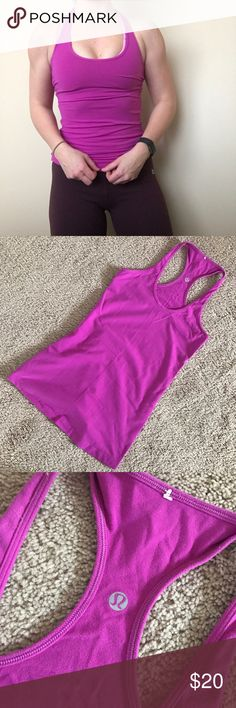 Lululemon Cool Racerback This versatile tank has a slim racerback that stays put—and out of your way—when you're on the move. Light luon & Lycra fabric. Tight fit, hip length. Deep magenta color. No size tag, and long tag removed. lululemon athletica Tops Tank Tops