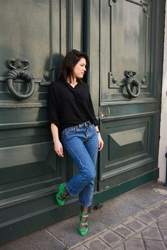 Look sandales vertes Bettina Vermillon, jean 501 Lévi's. Sreet style Paris, l'atelier d'al blog mode lifestyle