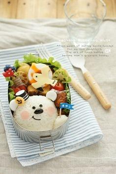 Polar bear and seagull bento box Bento Kawaii, Cute Bento Boxes, Bento Box Lunch, Japanese Bento Box, Japanese Food, Food Art Bento, Bento Recipes, Bento Ideas, Food Decoration