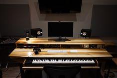 Items similar to Large Modern Wood Recording Studio Desk for Composer / Producer / Photographer /Designer / Creative // 88 key model in sun-tanned poplar on Etsy Home Studio Desk, Music Studio Room, Audio Studio, Sound Studio, Desktop Drawers, Desktop Shelf, Secret Storage, Hidden Storage, Recording Studio Desk