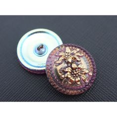 Czech Glass Button Amethyst - Gold Flowers size 10, 1pc