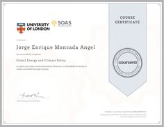 My Mooc: Global Energy and Climate Policy. University of London
