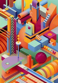 arrivals, an art print by Ygor Dimas - INPRNT Shape Design, 3d Design, 3d Cinema, Isometric Design, Abstract City, 3d Artwork, Wedding With Kids, 3d Max, Hanging Wall Art