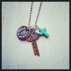 Wax Seal Horseshoe Vintage Key necklace