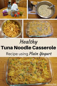 Healthy Tuna Noodle Casserole Recipe using Plain Yogurt - Choosing Real This easy and healthy tuna n Clean Dinner Recipes, Clean Eating Dinner, Healthy Crockpot Recipes, Beef Recipes, Recipe Using Plain Yogurt, Tuna Noodle Casserole Recipe, Healthy Tuna, How To Cook Pasta, Mayonnaise