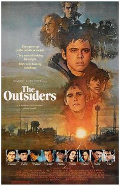 High resolution official theatrical movie poster ( of for The Outsiders Image dimensions: 1948 x Directed by Francis Ford Coppola. Starring Matt Dillon, Ralph Macchio, C. 80s Movies, Great Movies, Movies To Watch, 80s Movie Posters, Comedy Movies, Love Movie, I Movie, Jaws Movie, Movie Cast