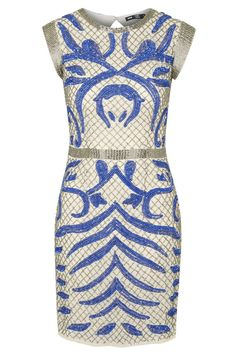 Lace & Beads Evening Dress <br /> <br /> - All-over silver & Blue beading and sequin embellishment <br /> - Hidden zip fastening at back of garment<br /> - Cap Sleeves <br /> - Cut out square on reverse <br /> <br /> Material:<br /> - 100% Polyester<br /> <br /> Care:<br /> - Cool hand wash with mild detergent<br /> - Hang to dry<br /> - Do not bleach<br /> - Do not soak<br /> - Do not rub<br /> - Do not tumble dry