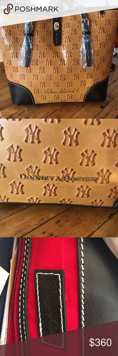 Brand new! Yankees official Dooney & Bourke tote Brand new! Yankees official Dooney & Bourke tote bag. Comes with storage bag, stuffing, registration card with number. Tags still on it. Handles wrapped in plastic. Never used! In beautiful condition. Make an offer :) Dooney & Bourke Bags Totes