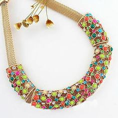 Colier statement multicolor Fashion Necklace, Crochet Necklace, Necklaces, Shopping, Jewelry, Jewlery, Jewerly, Schmuck, Jewels