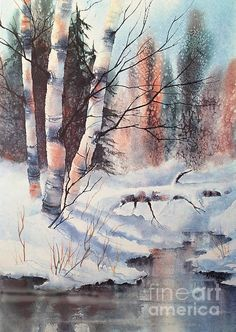 Alaska Birch II Painting by Teresa Ascone Abstract Landscape Painting, Watercolor Landscape, Landscape Paintings, Winter Trees, Winter Art, Watercolor Trees, Watercolor Paintings, Watercolors, Art Aquarelle