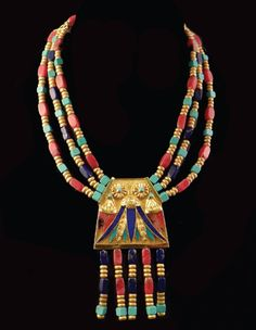 18 K yellow gold Egyptian Revival  necklace with turquoise, lapis and  rhodochrosite. Haig's of Rochester. www.haigsofrochester.com.
