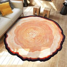 This Tree Trunk Area Rug Gives the Appearance of a Freshly Cut Tree Trunk! #treetrunkrug #treerug #treecarpet #carpet #rug #arearug #areacarpet #homedecor Diy Carpet, Modern Carpet, Rugs On Carpet, Wall Carpet, Carpet Ideas, Cheap Carpet, Stair Carpet, Beige Carpet, Carpet Decor