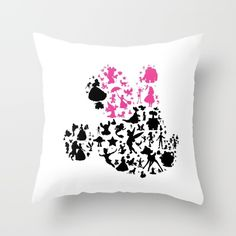 Pink bow on a girl mouse Throw Pillow