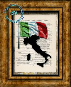 ITALY Black Silhouette with Green, White & Red Flag Art - Vintage Dictionary Page Art Print Upcycled Page Print by CocoPuffsArt on Etsy