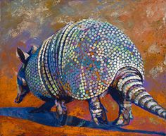 Limited edition canvas giclee print featuring a multicolored armadillo. Specifically, the north end of a sound bound armadillo at sunset. Multiple sizes available