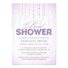Sparkly Lavender Glitter Bridal Shower Invitation