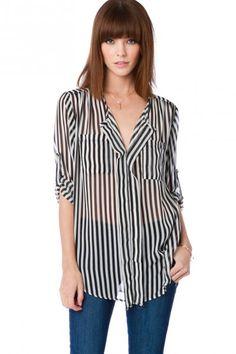 striped chiffon blouse