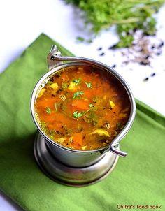 South Indian style Rasam recipe using freshly ground rasam powder !
