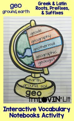 Geo - Ground, Earth; Greek and Latin Roots, Prefixes and Suffixes Foldables; Greek and Latin Roots Interactive Notebook Activity by Lovin' Lit