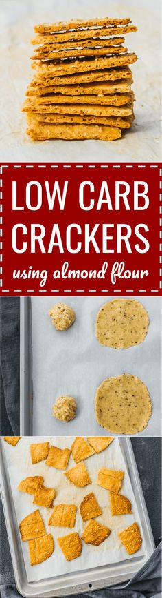 An easy and simple recipe for low carb cheese crackers using almond flour. keto / low carb / diet / atkins / induction / meals / recipes / easy / dinner / lunch / foods / healthy / gluten free / paleo / store / best / almond meal / ovens / garlic powder /