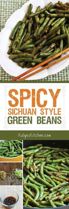 Spicy Sichuan Style Green Beans [from KalynsKitchen.com] are low-carb, Keto, gluten-free, South Beach Diet friendly, and Vegan!: