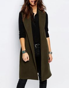 #AdoreWe #VIPme Vests - RichcocoClassic Military Green Fashion Long Vest - AdoreWe.com