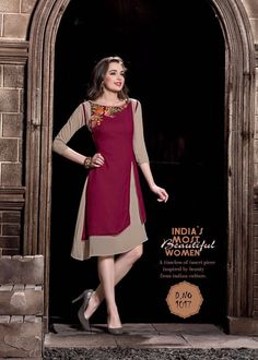 Royal Georgette Maroon Kurti With Embroidery Work