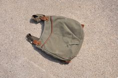 small canvas backpack / green canvas bag / cotton by QuietUnrest, $38.00