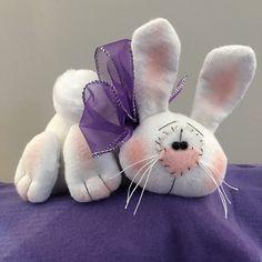 Lavender Purple /& White Stripe Spring Easter Grungy Primitive Socks Stockings