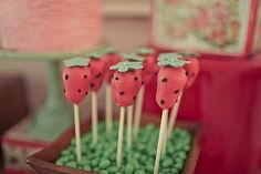 Super sweet strawberry cake pops at a vintage strawberry shortcake party via Kara's Party IDeas KarasPartyIdeas.com #strawberryshortcake #strawberrycakepops #partyideas