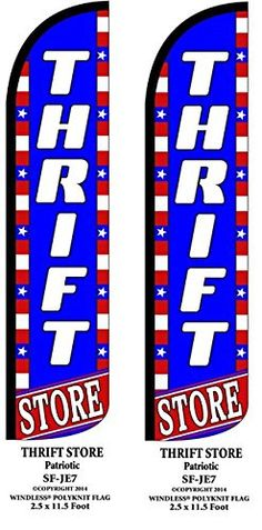 Thrift Store Patriotic Two(2) Windless Swooper Feather Flag Sign Kits With Pole and Ground Spikes