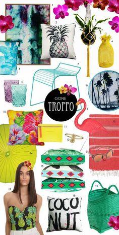 интерьерный тренд тропики, тропический декор