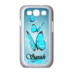 SAMSUNG GALAXY S3 S4 CASE PERSONALIZED BLUE BUTTERFIES #Samsung
