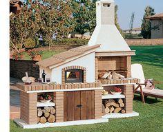 Backyard Kitchen, Small Backyard Patio, Summer Kitchen, Outdoor Kitchen Design, Barbecue Four A Pizza, Barbecue Grill, Outdoor Barbeque, Outdoor Oven, Garden Pond Design