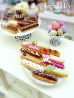 French éclairs, macaroons and chocolate treats by Paris Miniatures, via Flickr
