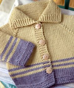 Striped Baby Jacket pattern by Megan Goodacre : Nice jacket; but pattern is in a book. Baby Cardigan Knitting Pattern Free, Baby Boy Knitting Patterns, Baby Sweater Patterns, Knit Baby Sweaters, Knitting For Kids, Knitting For Beginners, Baby Patterns, Free Knitting, Vogue Patterns
