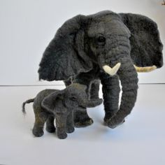 Elephant Cow and her baby .Needle felted wool soft sculpture. , needle felted animals.Fiber art by Daria Lvovsky