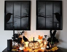 Haunted Forest Halloween Display with ravens, spooky trees, and playing with silhouettes or shadows for Halloween decorating - WebSpinstress.