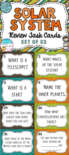 These review task cards are an awesome way to check your student's understanding of the Solar System. These task cards can be used as a SCOOT game, a game of memory, or even Jeopardy! Task cards cover planets, stars, Moon phases, seasons, and day/night!