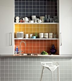 Add a bit of colour to your kitchen..... Great use of UK Waringa prismatics