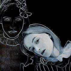 black and white - figurative painting - Teresa Carneiro Kunst Online, Portugal, Type Illustration, Human Art, Museum Exhibition, Figure Painting, Face Art, Art Lessons, Art Inspo