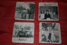 Photo coasters by Robyn Falardeau - Cards and Paper Crafts at Splitcoaststampers Photo Coasters, Family Memories, Gifts For Family, Paper Crafts, Cards, Tissue Paper Crafts, Paper Craft Work, Papercraft, Maps