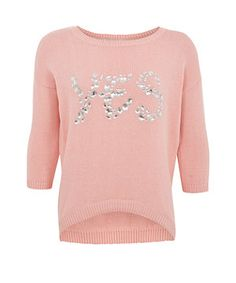 Think pink this season and wrap up warn in this gorgeous candy pink knit and that just screams YES! With diamante sparkle embellishment, mix up this feminine knit with some boyfriend jeans for a girl meets boy ensemble. Back To School For Teens, New Look Fashion, Breast Cancer Support, Pink Candy, Boyfriend Jeans, School Ideas, Knitwear, Jumper, Feminine