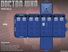 Make your own TARDIS for your #DoctorWho paperdolls by simply printing, cutting and folding this design
