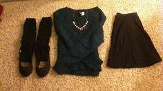 •Crop Sweater: H&M •Statement Necklace: Charlotte Russe •Skater Skirt: Brass Plum (Nordstrom) •Thigh-High Socks: HUE •Black Flats: Rocket Dog