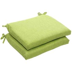 Pillow Perfect Outdoor/ Indoor Baja Lime Green Squared Corners Seat Cushion  (Set Of Beige