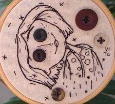 Embroidery Flowers Pattern, Embroidery Art, Flower Patterns, Coraline, Button Art, Stitching, Patches, Cross Stitch, Anime